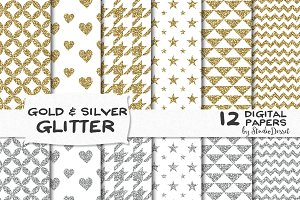 Gold and Silver Glitter Papers
