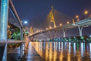 Ring Road Bridge, at twilight.