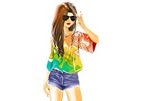 Watercolor sexual girls in shorts