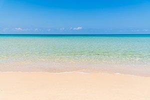 tropical beach, sea and blue sky
