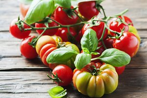 Red sweet tomato and basil