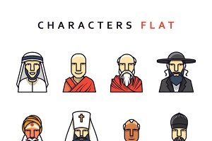 Characters icons men religious.