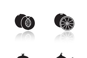 Fruits drop shadow icons set. Vector