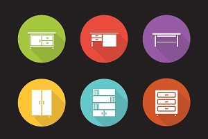 Furniture icons. Vector