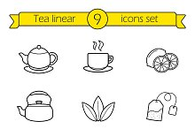Tea linear icons set. Vector