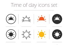 Time of the day icons. Vector