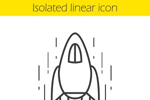 Spaceship linear icon. Vector