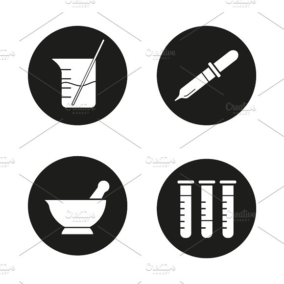 Chemical laboratory icons. Vector - Icons