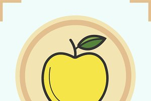 Yellow apple color icon. Vector