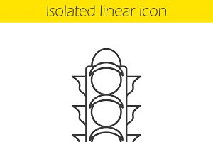 Traffic light linear icon. Vector