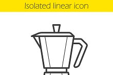 Moka pot linear icon. Vector