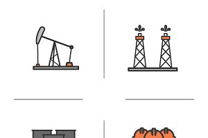 Oil industry color icons set. Vector