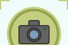 Photo camera color icon. Vector