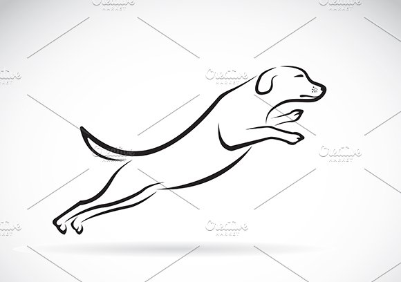 Vector image of an dog jumping