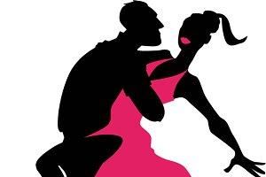 Salsa dancers silhouette