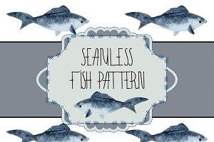 Seamless fish watercolor pattern
