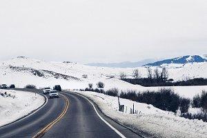 Snowy Rocky Mountain Road