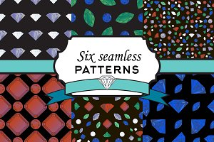 Set seamless patterns with diamonds