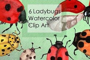 Watercolor Ladybugs Clip Art