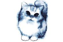 Watercolor little cartoon kitten cat