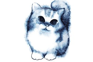 Watercolor little cartoon kitten cat