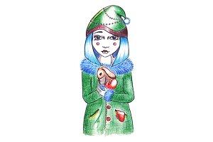 Winter girl with rabbit in hands