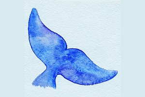 Watercolor whale tail fish