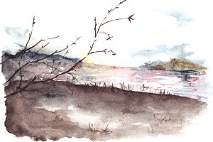 Watercolor river lake landscape