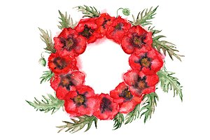 Watercolor red poppy floral wreath