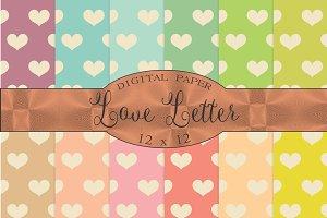 Love letter, heart patterns