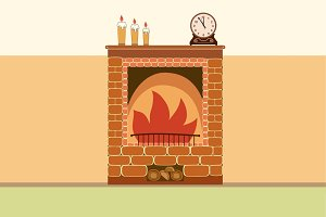 Brick fireplace vector illustration