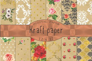 Kraft digital paper, patterned kraft