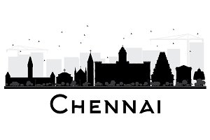 Chennai City Skyline Silhouette