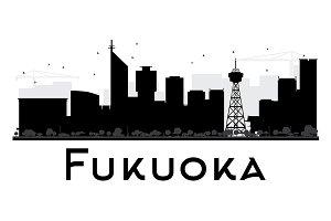 Fukuoka City Skyline Silhouette