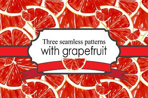 seamless patterns with grapefruit