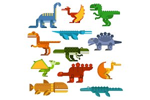 Cartoon dinosaurs flat icons