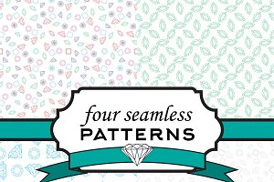 Four seamless pattern with crystal
