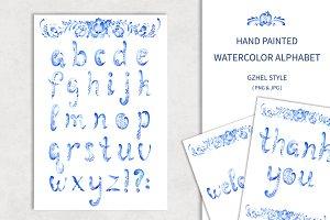 Watercolor alphabet.Gzhel style.