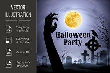 Halloween Party on a spooky graveyar