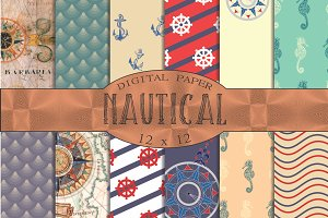 Nautical patterns, digital paper