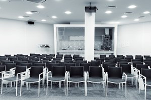 Modern press conference room