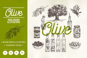 Olive.Hand drawn illustrations.