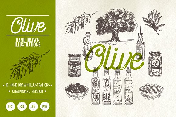 Olive.Hand drawn illustrations. - Illustrations