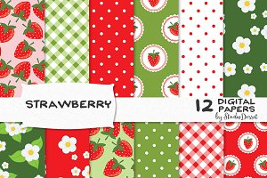 Strawberry - Digital Papers