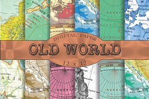 Vintage map patterns, 'Old world'