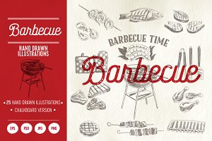 25 sketches barbecue illustrations