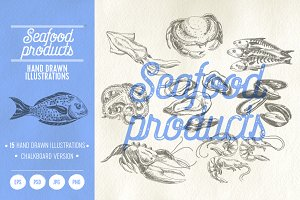 Seafood products illustrations
