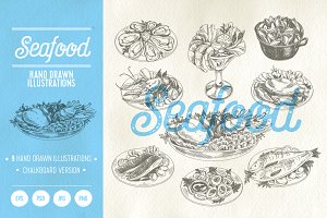 Hand drawn seafood illustrations