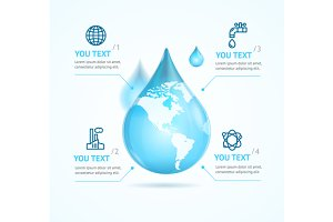 Water Globe Infographic Eco