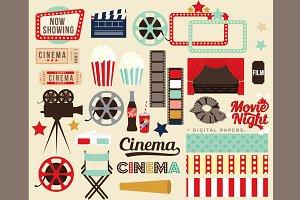 Movie night clip art clipart retro